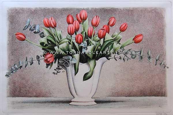Tornasolearte 187 Firenze Acquaforte 187 323e Vaso Con Tulipani
